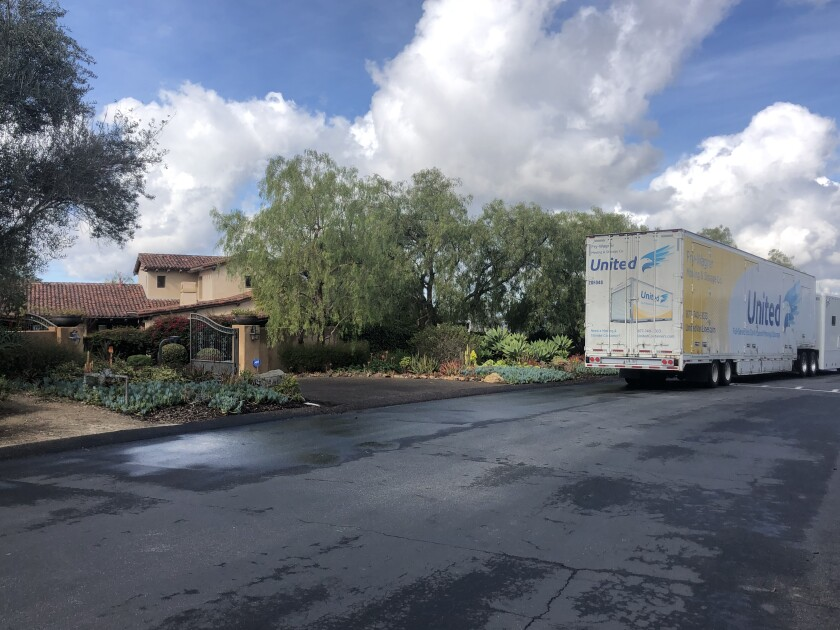 Moving van outside the North County home of Philip Rivers on Friday.