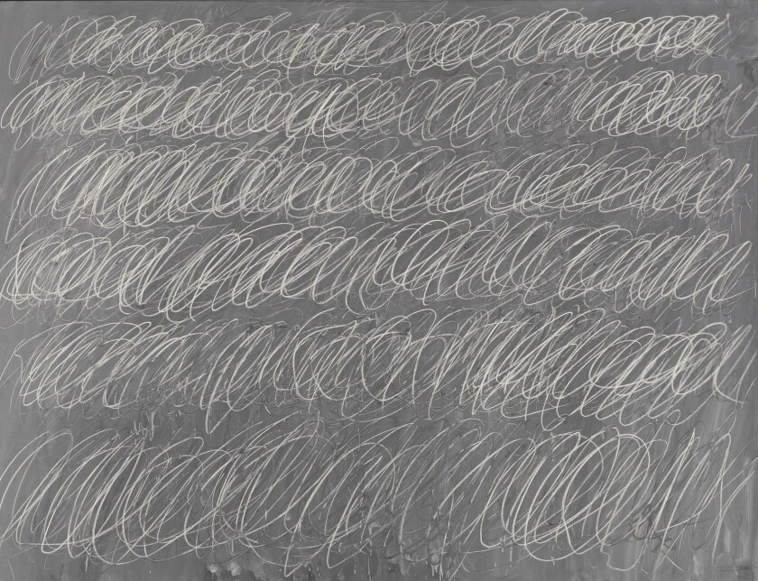 "Cy Twombly's ""Untitled (New York City)"" brought in $70.5 million, which is believed to be an auction high for the late artist. The canvas, which had been expected to go for more than $60 million, is one of his ""blackboard"" creations that depicts scrawlings that resemble writing on a chalkboard."
