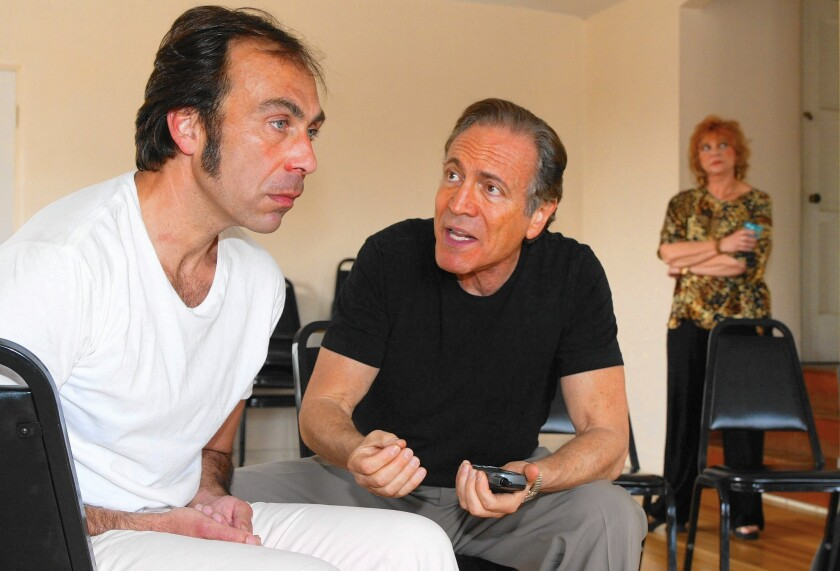 """Taylor Negron, left, David Groh and Jeanette O'Connor starred in a 2002 revival of Negron's play """"Gangster Planet"""" at the Chautauqua Theatre Alliance."""