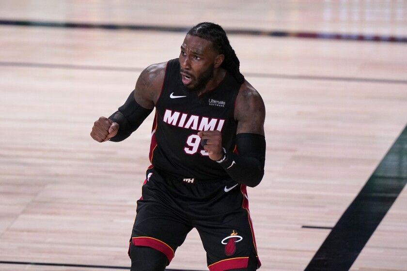 Miami Heat's Jae Crowder gestures after being charged with a foul on a shot attempt by the Boston Celtics during the second half of an NBA conference final playoff basketball game, Saturday, Sept. 19, 2020, in Lake Buena Vista, Fla. (AP Photo/Mark J. Terrill)