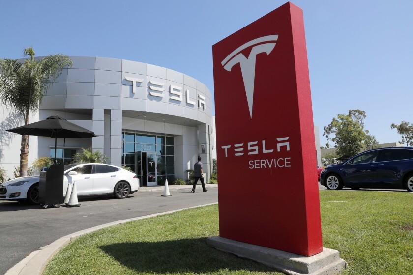 Tesla service center in Costa Mesa, Calif.