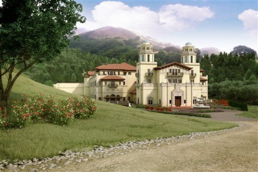In this artist rendering released by Lucas Films, a drawing of the proposed Industry Light & Magic campus, is shown. Residents in a tony Marin County neighborhood just north of San Francisco have balked at filmmaker George Lucas' plans to build his next Industry Light & Magic campus in their upscale, rural community. The 275,000+ square foot complex with an outdoor sound stage and undergrounding parking for 250 cars would result in too much traffic, noise and environmental impacts to their bedroom community. (AP Photo/Lucas Films)