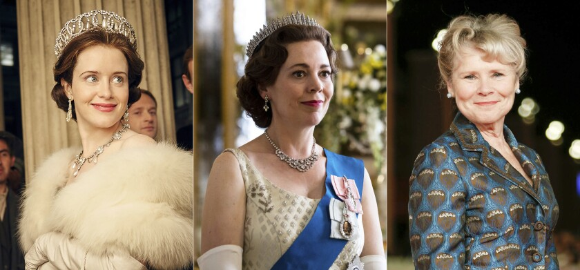 """This combination photo shows Claire Foy, as the young Queen Elizabeth II, Olivia Colman as Queen Elizabeth II in later years and Imelda Staunton, who will be the third and final actress to portray the British monarch on the Netflix series """"The Crown."""" (Netflix via AP, and AP Photo)"""
