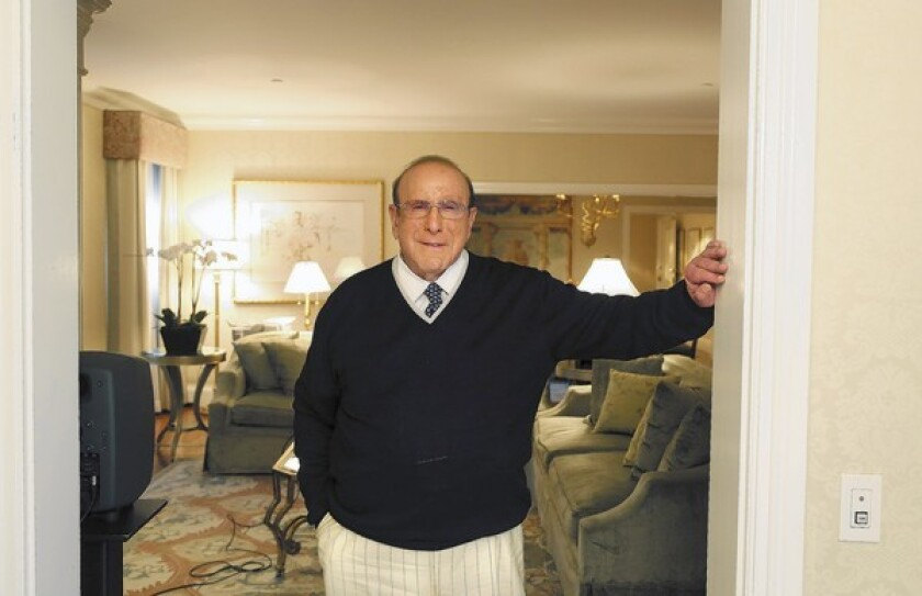 Music executive Clive Davis at his bungalow at the Beverly Hills Hotel.