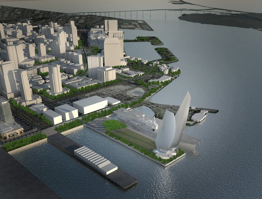 Two sail-like structures, up to 500 feet high, would be included in Veterans Park at Navy Pier under a plan presented by the Midway aircraft carrier museum.