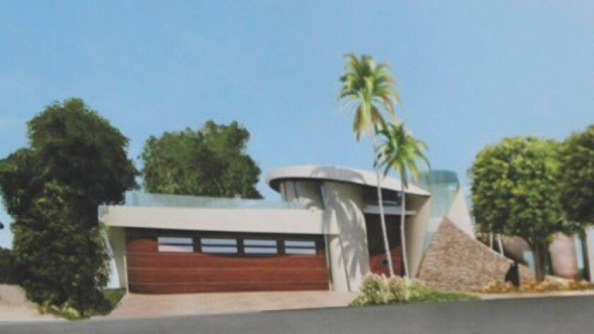 A street-view rendering of a home proposed for 6715 Hillside Drive on Mt. Soledad (Wu residence).