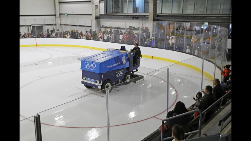 A Zamboni driver resurfaces one of four rinks at Great Park Ice & FivePoint Arena in Irvine on Jan. 02, 2019.