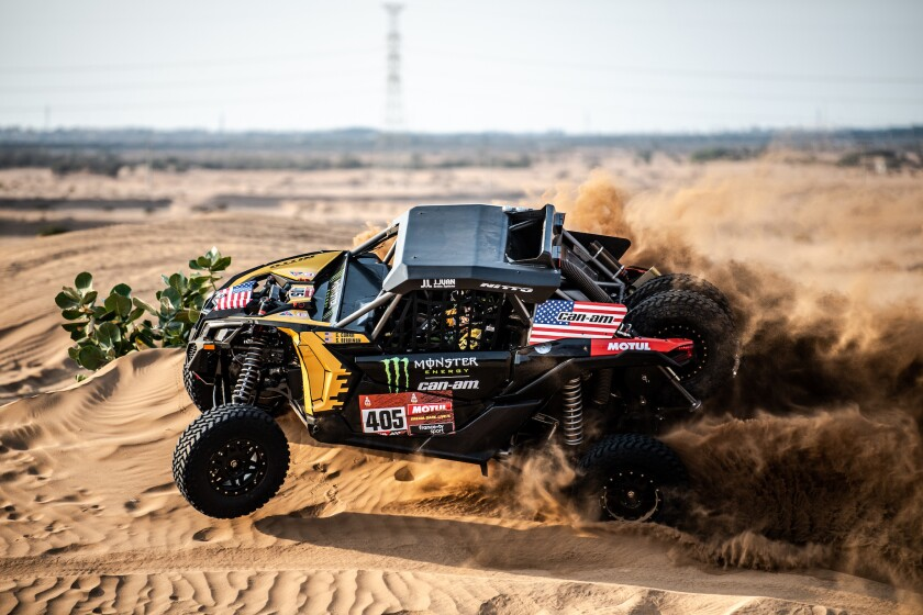 "Casey Currie takes part in a ""shakedown"" test drive in Jeddah, Saudi Arabia, on Jan. 2, 2020 ahead of the start in the Dakar rally raid."