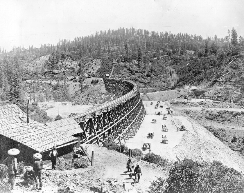 Central Pacific's Secret Town Trestle near Colfax in the Sierra Nevada was built by hundreds of Chinese workers in the 1860s.