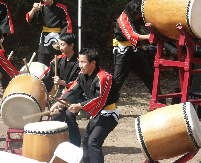 Taiko drummers perform during the Cherry Blossom Festival at the Japanese Friendship Garden in Balboa Park.