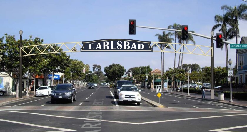 Rendering of proposed sign at Carlsbad Village Drive and Carlsbad Boulevard. Rendering by Federal Heath Sign Co.