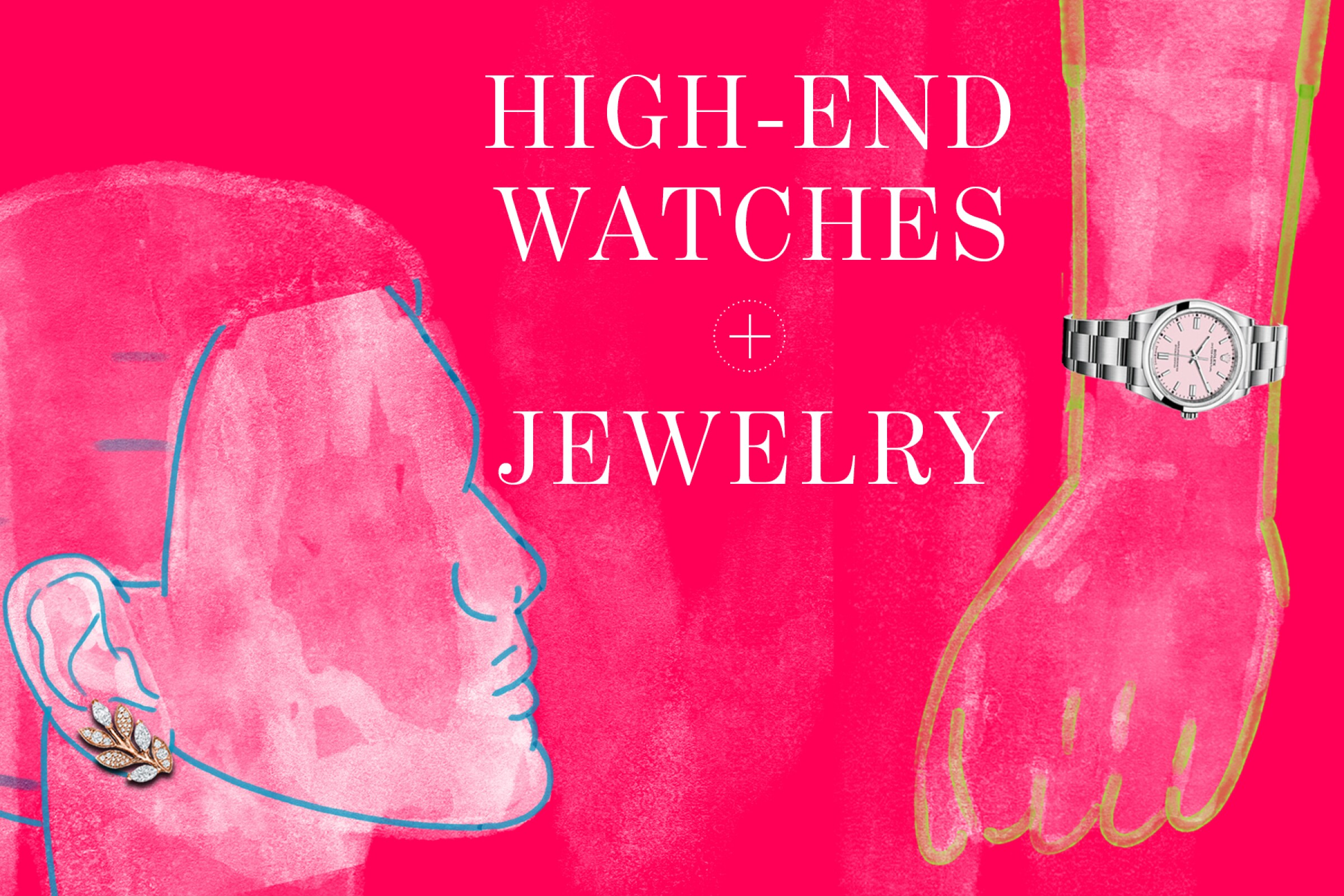 A photo illustration of a Tiffany earring and a Rolex watch.