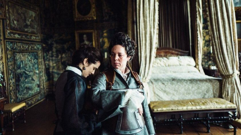 """(L-R) - Rachel Weisz and Olivia Colman in the film """"The Favourite."""""""