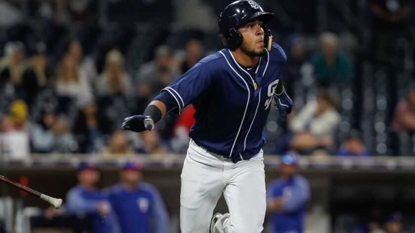 Padres minor league player Fernando Tatis during their game against Texas Rangers prospects on Sept. 30, 2017, in San Diego, California.