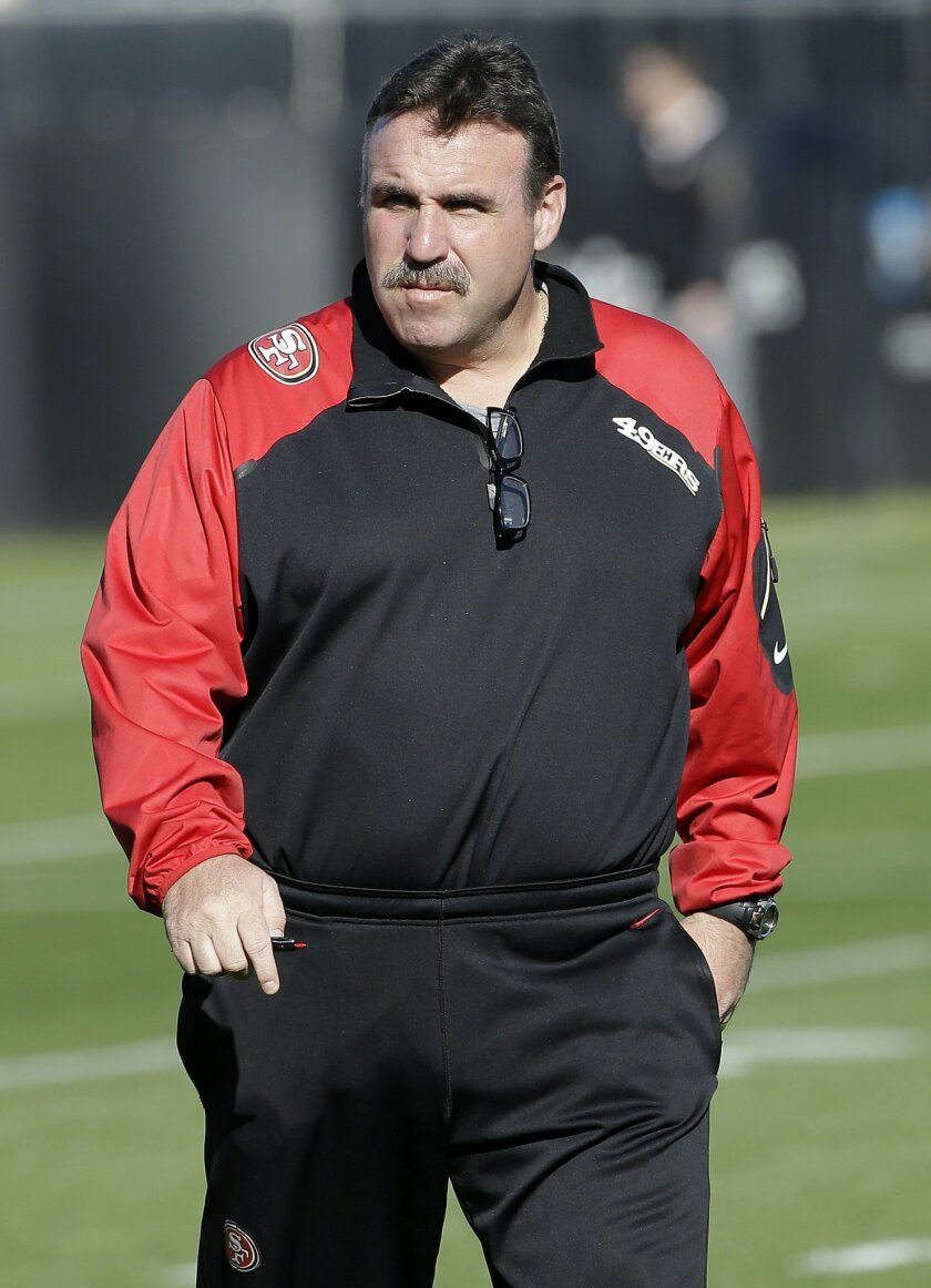 San Francisco 49ers head coach Jim Tomsula watches players during an NFL football practice in Santa Clara, Calif., Wednesday, Nov. 4, 2015. Head coach Jim Tomsula announced that the 49ers have officially made the change at quarterback from Colin Kaepernick to Blaine Gabbert. (AP Photo/Jeff Chiu)
