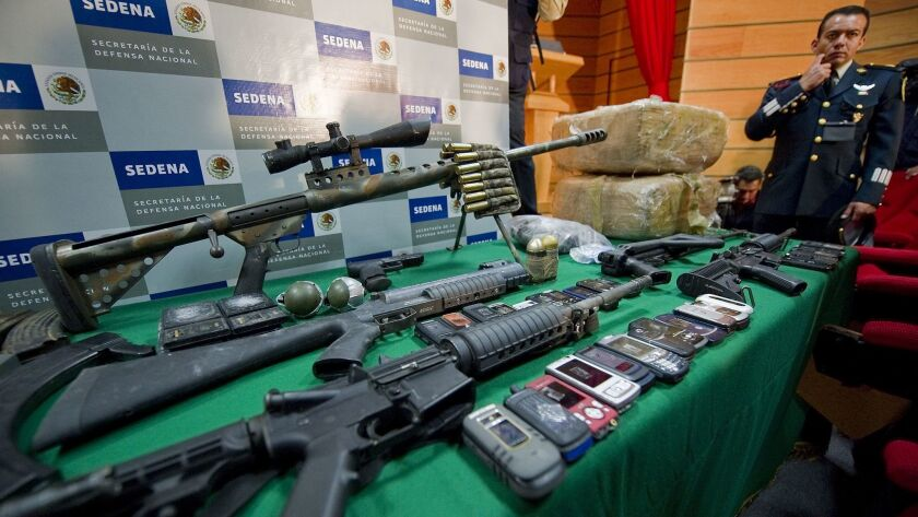 Weapons seized by Mexican police from the Zetas drug cartel in 2010. Mexican authorities said they arrested the head of the cartel this week.