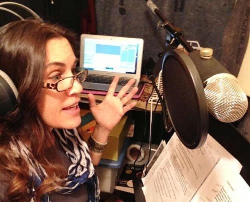 Del Mar Heights' voice-over actress Sariann Monaco in her recording studio. Courtesy photo