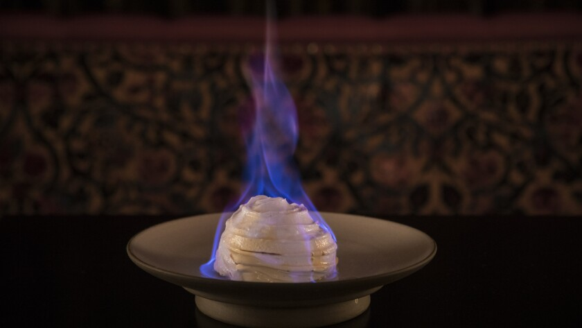 LOS ANGELES, CA - JANUARY 12, 2018 - Baked Alaska served at the Nomad Hotel.
