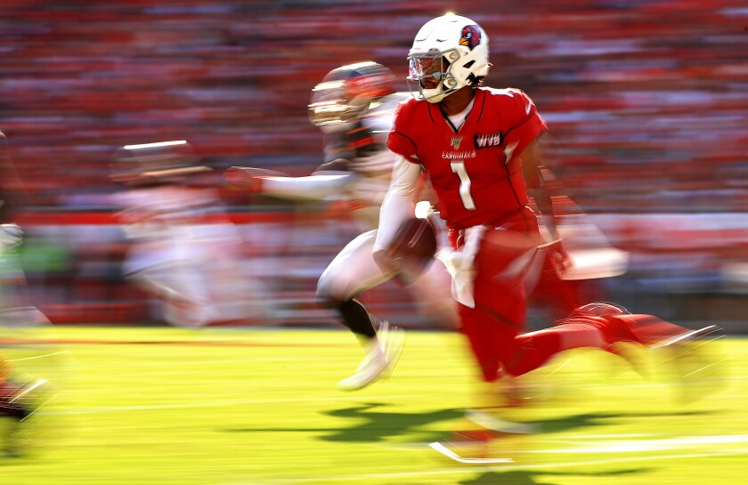 Arizona Cardinals quarterback Kyler Murray carries the ball against the Tampa Bay Buccaneers on Nov. 10.