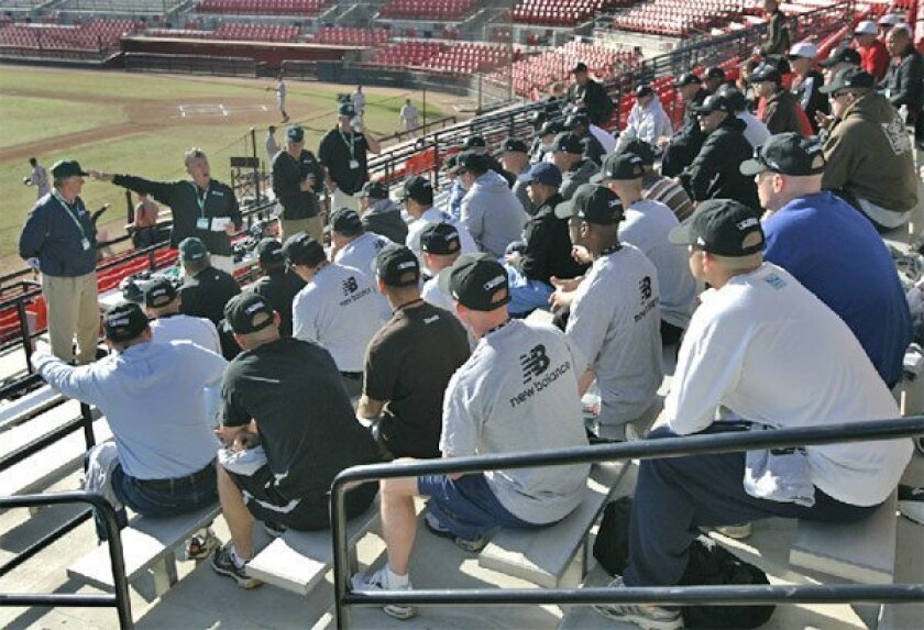 More than 80 service members were among the attendees at yesterday's umpiring  class at SDSU. (Nancee E. Lewis / Union-Tribune)