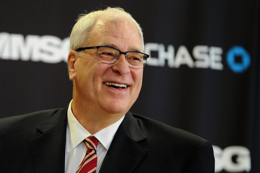 Phil Jackson is introduced as president of the New York Knicks at Madison Square Garden on March 18, 2014. The Knicks have the No. 4 overall pick in Thursday's NBA draft.