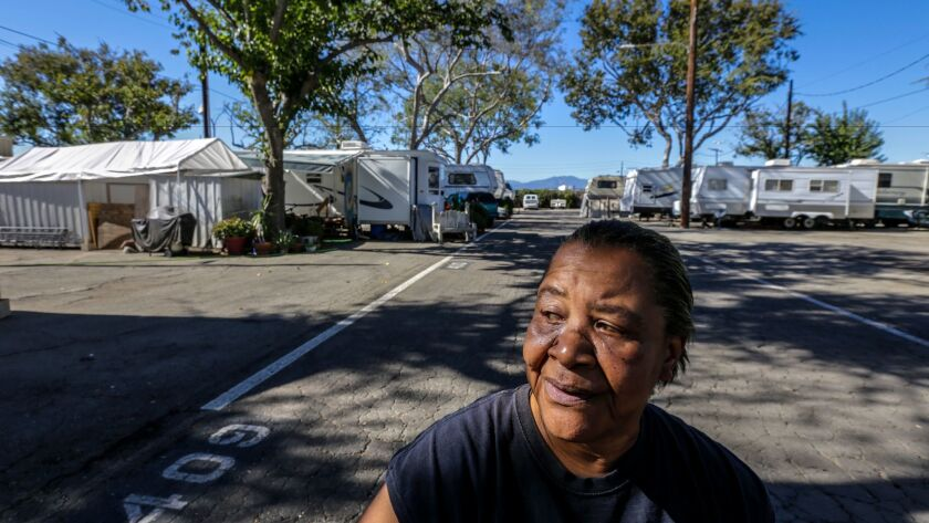 In this file photo from 2015, Ellen McKeever-Jacobs, 58, is a longtime resident of the trailer park at the Los Angeles County fairgrounds.