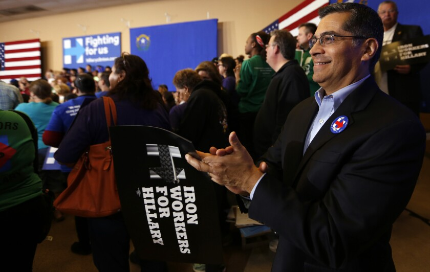 Rep. Xavier Becerra (D-Los Angeles) attends a Hillary Clinton rally at Painter's Hall in Henderson, Nev.