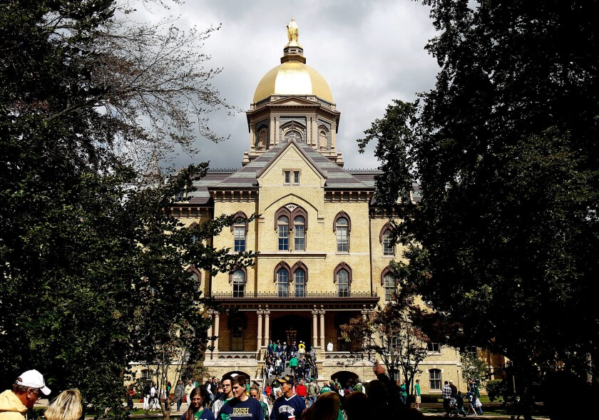 """The """"Golden Dome"""" is seen on the campus of Notre Dame University before a game between the Notre Dame Fighting Irish and the Purdue Boilermakers at Notre Dame Stadium on September 4, 2010 in South Bend, Indiana."""