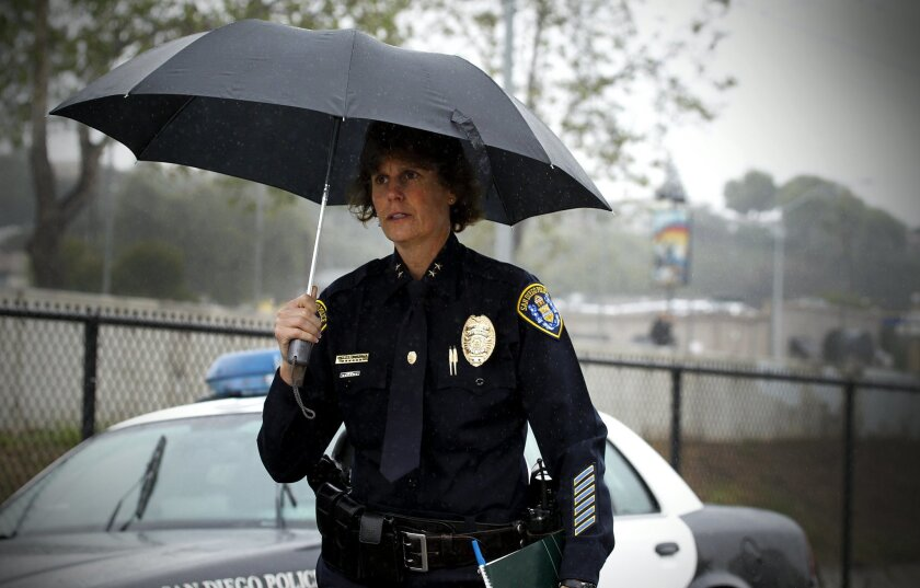 Shelley Zimmerman arrives at an officer-involved shooting in Encanto last week.