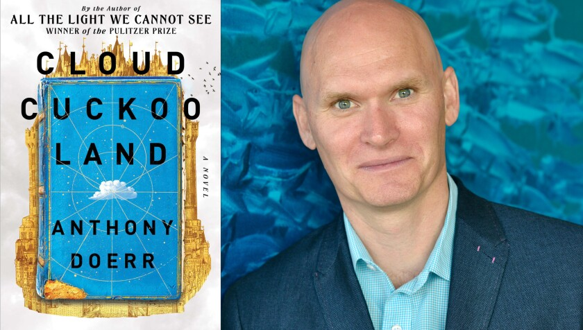 A split shot of a book cover, left, and a headshot of a man