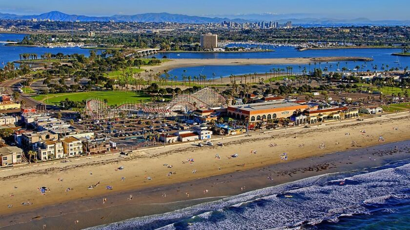 MISSION BEACH, SAN DIEGO, CA: Looking across Mission Beach from the Pacific Ocean.