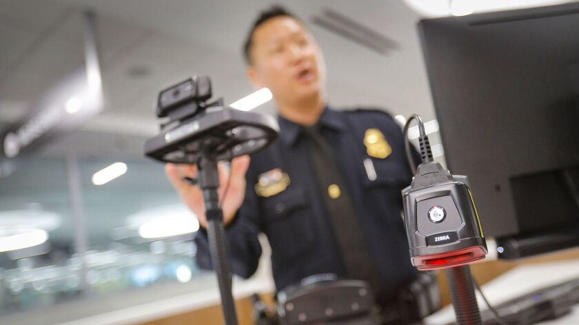 International travelers arriving at Lindbergh Field will have their photo captured by a web cam and matched in near real-time against a passport or visa photo already on file. The biometrics system is designed to speed up the customs process.