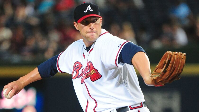 Jim Johnson pitches for the Atlanta Braves on June 10, 2015.