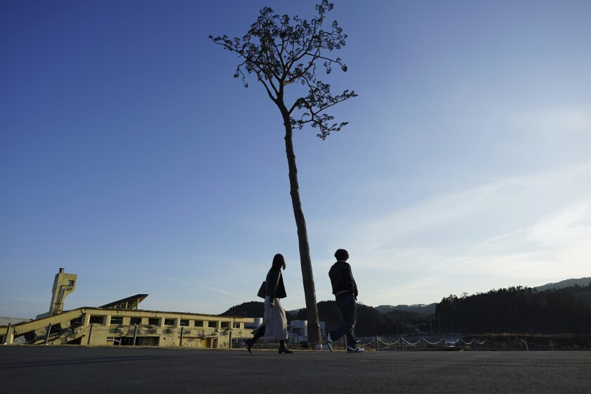 """A man and a woman walk near a replica of a lone pine tree that initially survived the 2011 tsunami that flattened the surrounding coastal forest, in Rikuzentakata, Iwate Prefecture, northern Japan, Thursday, March 4, 2021. The tree, which eventually died of seawater exposure, was known as the """"Miracle Pine,"""" and townspeople treated, reinforced and then preserved it as a memorial and symbol of hope for the region. (AP Photo/Eugene Hoshiko)"""