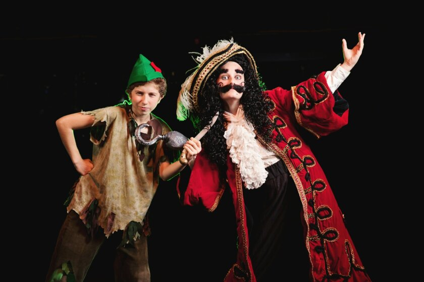 Adira Rosen as Peter Pan and Julia Price as Hook in the J*Company production of Peter Pan. Courtesy