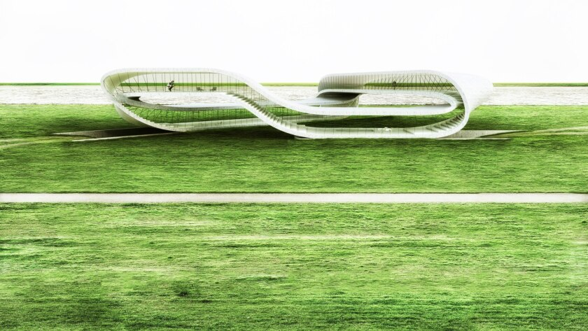 A rendering of Landscape House on Universe Architecture's Facebook page. The house, to be built in part with a 3-D printer, is inspired by the Mobius strip.