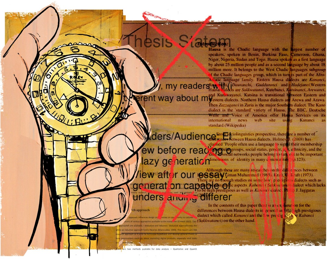 Illustration of a Rolex watch and academic papers.