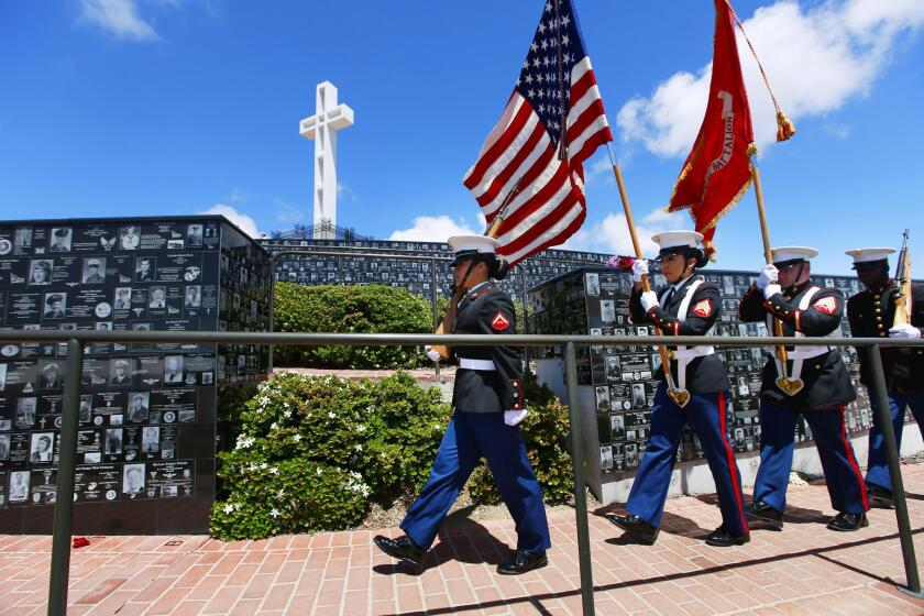 Marine Corps Recruit Depot Color Guard presents the colors during a Memorial Day ceremony Feb. 27 at Mount Soledad National Veterans Memorial in La Jolla.