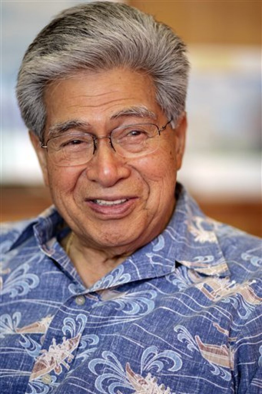 In this April 5, 2007, file photo, Sen. Daniel K. Akaka, D-Hawaii, is seen in his office in Honolulu, Hawaii. Widows of war veterans have been wrongfully denied up to millions of dollars in government benefits over the past 12 years due to computer glitches that often resulted in money being seized from the elderly survivors' bank accounts. Akaka, who chairs the Senate Veterans Affairs Committee, confronted Veterans Affairs Secretary James Peake about the problem in a letter in December 2008, after receiving a complaint from a widow. (AP Photo/Marco Garcia)