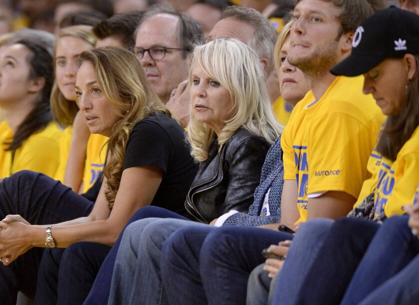 Rochelle Sterling, wife of Donald Sterling, owner of the Clippers, filed a lawsuit against a woman she alleges is her husband's mistress, demanding the return of $2.5 million in gifts and cash. Here, she watches Game 4 of the NBA playoff series between the Clippers and the Golden State Warriors.