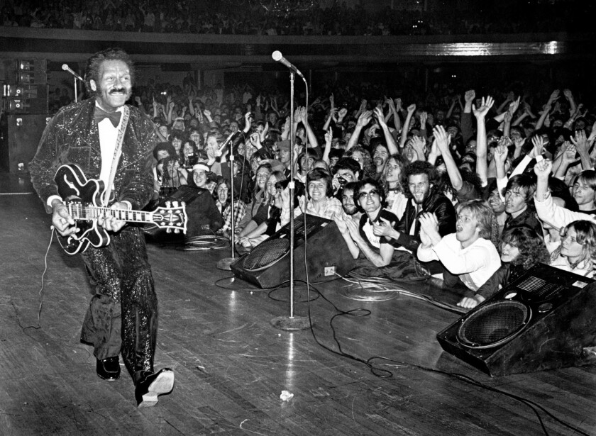 Chuck Berry performing at the Hollywood Palladium on March 24, 1980.