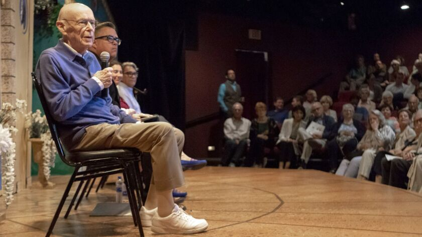 """Retired U.S. District Court Judge H. Lee Sarokin, left, takes questions from the audience about his new play """"The Protester"""" at North Coast Repertory Theatre in Solana Beach on Monday."""