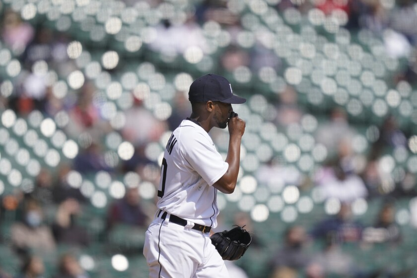 Detroit Tigers starting pitcher Julio Teheran walks on the mound during the fifth inning of a baseball game against the Cleveland Indians, Saturday, April 3, 2021, in Detroit. (AP Photo/Carlos Osorio)