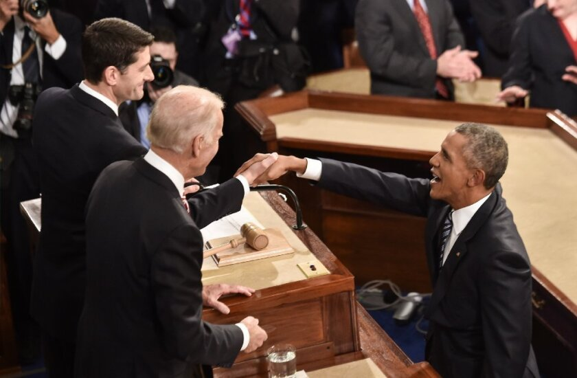 President Obama greets House Speaker Paul D. Ryan (R-Wis.) before his final State of the Union address Tuesday.