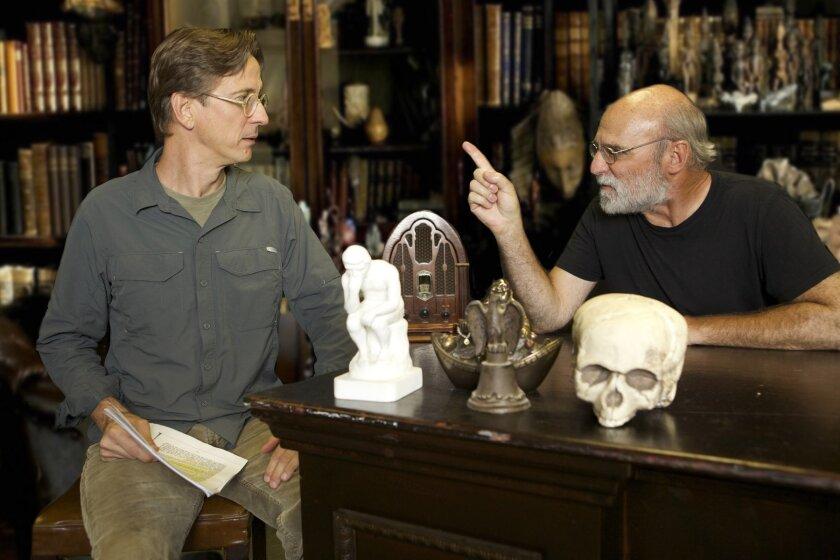 C. S. Lewis (Bruce Turk) gets a stern talking to by Sigmund Freud (Michael Santo).
