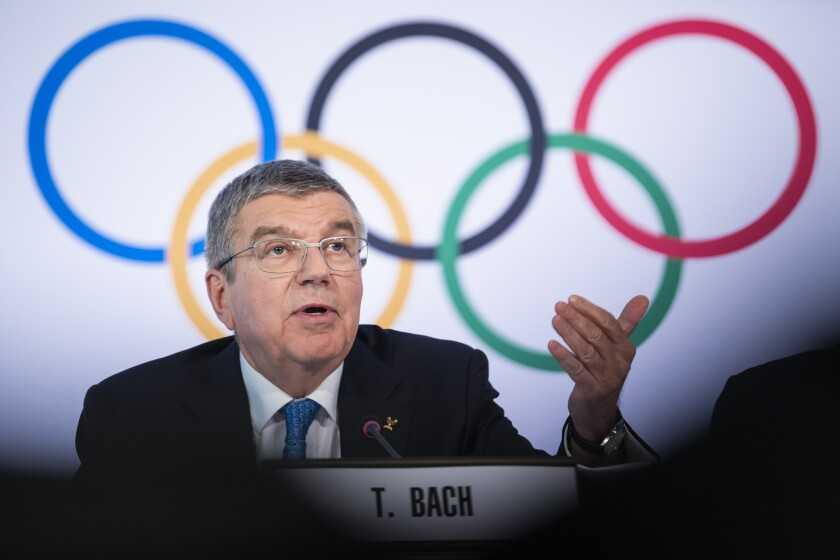 International Olympic Committee (IOC) president Thomas Bach from Germany speaks during a press conference after the executive board meeting of the International Olympic Committee (IOC), at the Olympic House, in Lausanne, Switzerland, Wednesday, March 4, 2020. (Jean-Christophe Bott/Keystone via AP)