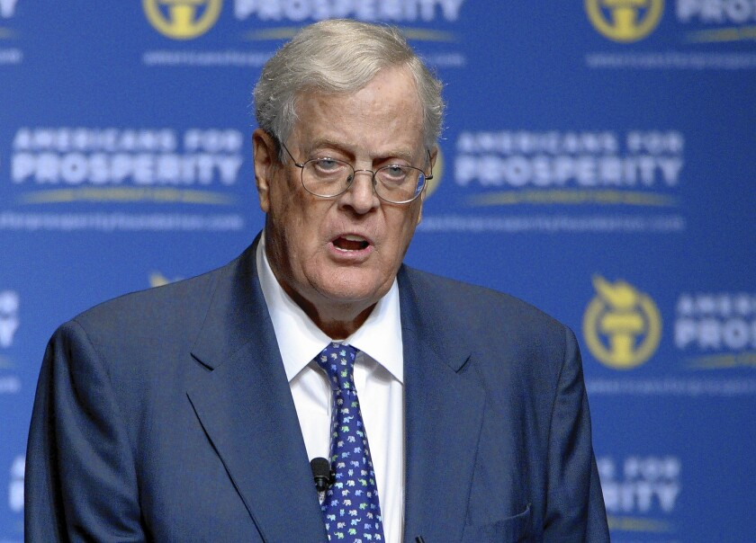 David Koch speaks in 2012