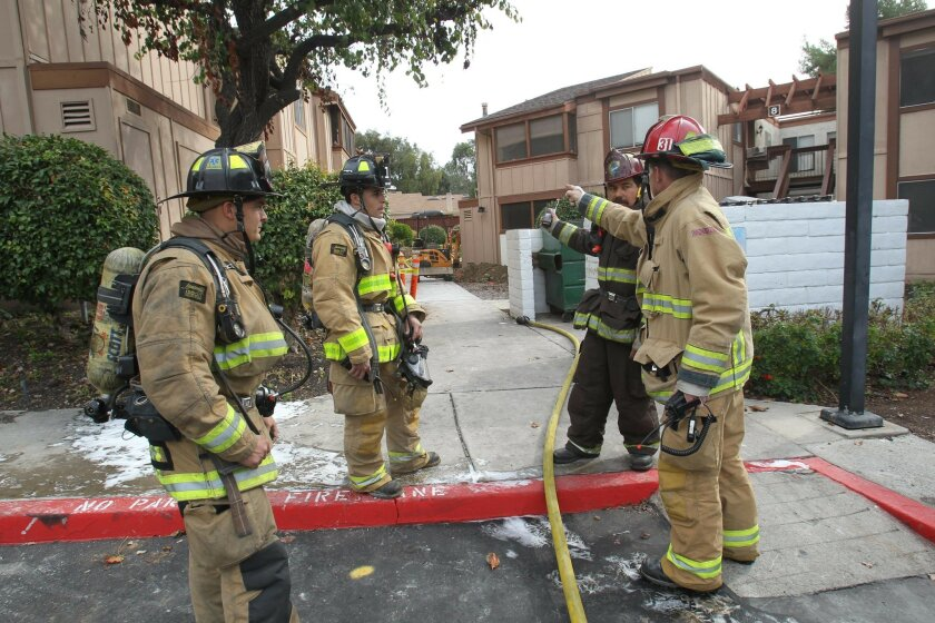 San Diego Firefighters and SDGE quickly closed off a broken high pressure gas main in an apartment complex in the 5500 block of Adobe Falls Road. A small backhoe working in the landscaping area severed the line, forcing the evacuation of two buildings.