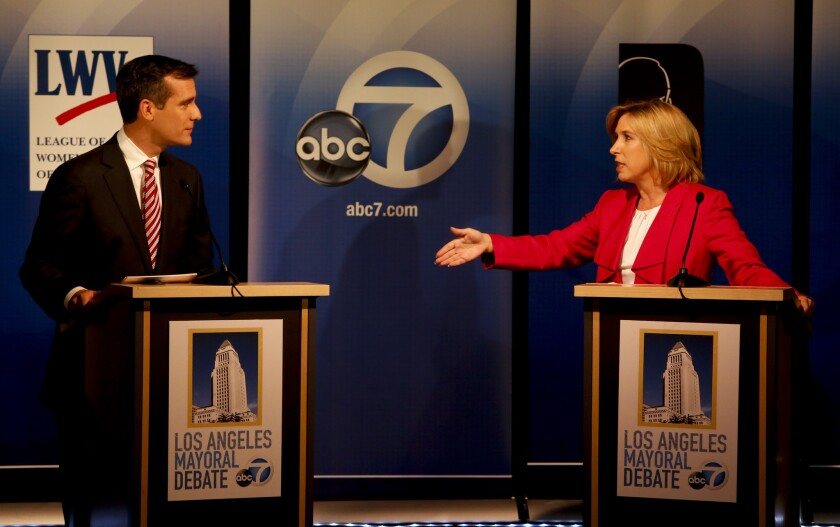 Eric Garcetti and Wendy Greuel