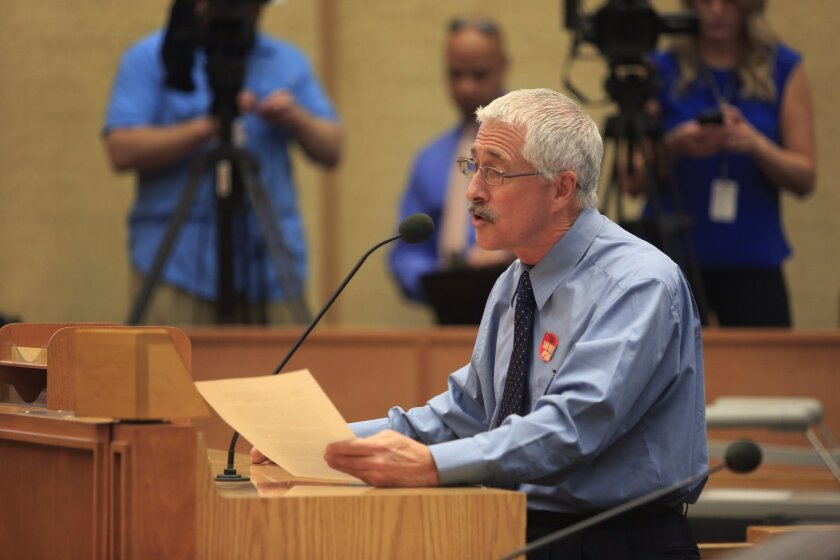 Downtown San Diego  CA USA, April 8th, 2014-  Nick Reveles, the Giesel Director of Education and Outreach for the San Diego Opera made his case on why the opera and arts in general are important and pleaded for the support of the city council as the opera struggles to remain financially viable.  Da